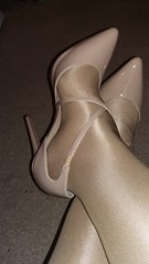 New shoes for Friday! ! (Sissy kaylah) Tags: hiheels beige shinyhose wolford tights pantyhose shoes tgirl tg crossdresser crossdressing crossdress tranny trans