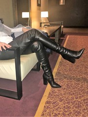 Rosina in the hotel lobby (in leather leggings and thigh high boots by Dolce & Gabbana) (Rosina's Heels) Tags: thigh high leather boots