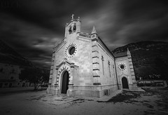Church of St. Blaise in Ston, Croatia (Russell Eck) Tags: church st blaise ston croatia europe cathedral russell eck black white monochrome stagno wall fort byzantine architecture nikon d5100 travel building fine art photography