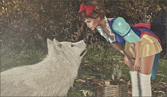 *Well my friend, one of us is in the wrong fairytale!* ❤️ (Ⓐⓝⓖⓔⓛ (Angeleyes Roxley)) Tags: fashiowl poses wolf red riding hood enchantment event sl secondlife mainstore pose single female