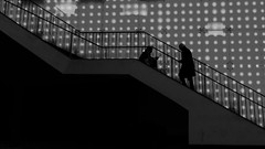 disco stairs (frax[be]) Tags: streetphotography silhouette 16mm fuji street urban indoor highcontrast noiretblanc monochrome lights wall blackandwhite bnw bw