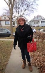 I'm Off! (Laurette Victoria) Tags: sidewalk leggings purse hat coat gloves laurette woman