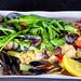Salad with seafood and arugula