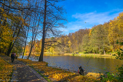 October in Tsaritsyno Park / Октябрь в Царицыно (Vladimir Zhdanov) Tags: autumn october nature landscape russia moscow tsaritsyno park forest tree wood foliage road people sky cloud leaf pond water