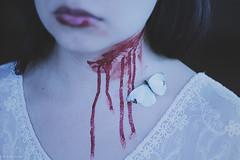 (Wolf's Kurai) Tags: wolfkurai wolfskurai photography darkartist darkart blood neck suicide lips red butterfly female pale fragile frail death ritual emotion obscure symbolism