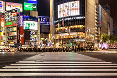 Ready for Green Light, Shibuya Crossing - Tokyo (Japan) (Andrea Moscato) Tags: andreamoscato giappone japan nippon nihon 日本 sollevante view vivid night nightlife notte notturno dark downtown darkness light luci shadow ombre city città civiccenter people persone street strada road cross incrocio tourist town tokyo metropoli white yellow red screen scritta writing sign 東京 kantō honshū metropolis japanese giapponese capitale capital prefecture prefettura district building edificio architecture architettura pedestrian ward quartiere business