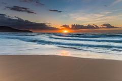 Sunrise at the Beach (Merrillie) Tags: daybreak sunrise cloudy australia nsw centralcoast clouds sea newsouthwales rocks earlymorning morning water landscape ocean nature sky waterscape coastal seascape outdoors killcarebeach dawn coast killcare waves