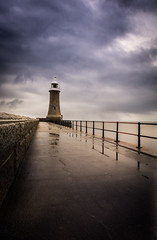 Tynemouth Lighthouse (Marc Bates Photography) Tags: england northsea northtyneside uk architecture beacon blue boardwalk building clouds coast coastal coastline color crisp dramatic east europe horizon landmark landscape light lighthouse longexposure marine maritime nature nautical navigation north northeast ocean outdoor overcast pier railings sea seas seascape seaside sky storm stormy structure tower tyne tynemouth vane water weather