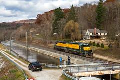 Sunday Stroll (sully7302) Tags: housatonic railway hrrc nx12 falls village connecticut ct reservoir train scenic emd gp35m gp35 autumn canal 3600 3604 trains freight industrial