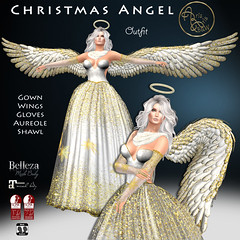 99L$ PROMO***ArisarisB&W~Alus90~ Christmas Angel Outfit (ArisArisB&W - Ariadna Garrigus & Ayrton Radikal) Tags: gown dress christmas angel mesh costume promotion skirt disguise disfraz maitreya wings roleplay belleza slink santa navidad natal gold white aureole shawl stole gloves