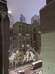 2018 November Evening Blizzard Snow Tree - Front Yard  5106 (Brechtbug) Tags: pyramid tower light atop world wide plaza building looking north after snowstorm nyc 2018 hell s kitchen clinton new york city clouds evening fog sky foggy cloud art architecture buildings view hells 11152018 november fall autumn