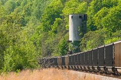 18-2631 (George Hamlin) Tags: virginia gladstone railroad freight train coal gondolas loads eastbound csx trees coaling tower track ballast photo decor george hamlin photography
