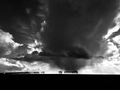 Keep cool... (Ageeth van Geest) Tags: horizon landschap nature silhouette weather clouds stormy storm sky iphone zwartwit blackwhite monochrome blackandwhite bw dutch landscape holland
