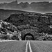 A Graveled Road Leading off to Peaks of the Sierra del Carmen (Black & White, Big Bend National Park)