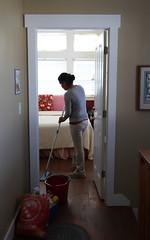 Maria Santa Maria, 40, cleans a guest's room at the inn.