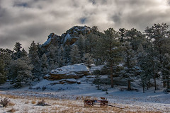 Little Old Wagon (RkyMtnGrl) Tags: landscape nature scenery vista bluffs mountains pines snowcovered yard wagon historic clouds winter january estespark colorado 2019