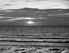 Offshore Wind Turbines - Black and White Sunrise (Gilli8888) Tags: nikon p900 coolpix northumberland newbigginbythesea newbiggin northsea beach sand coast coastal shore seaside seascape sun dawn sea water marine blackandwhite turbines windturbines sunrise five offshore