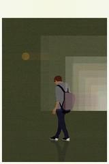 quiet room (monowave) Tags: man sun moon gradation green landscape abstract ios spectrum shadow design
