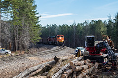 Wood or Coal? (travisnewman100) Tags: norfolk southern burlington northern santa fe bnsf ns train railroad rr freight unit coal mcpherson atlanta north district georgia division dallas sd70ace sd70mac emd 737 locomotive