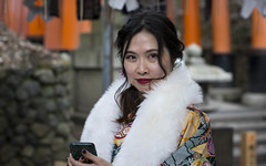 100 Strangers Yan 3/100 (Andrew Allan Jpn) Tags: 100strangers humanfamily streetportrait girl cute charismatic beauty travel japan chinesewoman kimono muffler stole fur colour kyoto shrine temple happyplanet asiafavorites tourist asian asia