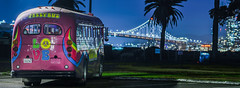 jellybus (pbo31) Tags: sanfrancisco california nikon d810 color night dark black january 2019 boury pbo31 city roadway bridge baybridge 80 sign art bus jelly tour party panorama large stitched panoramic treasureisland depthoffield purple hippy 60s groovy blue peace love