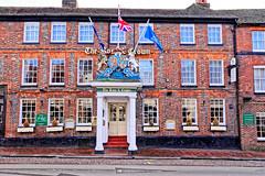 Rose & Crown (Geoff Henson) Tags: building architecture hotel pub restaurant venue flag crest coatofarms road pavement window door roof