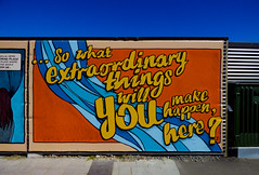 . . . So What (Steve Taylor (Photography)) Tags: sowhatextraordinarythingswillyoumakehappenhere cathedralsquare art cartoon graffiti mural streetart billboard fence black blue orange yellow newzealand nz southisland canterbury christchurch cbd city outline sky