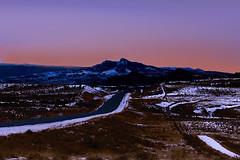 Oregon Basin Twilight (wyojones) Tags: wyoming cody meeteetse oregonbasin heartmountain beartoothplateau badlands wyomingroute120 highway road twilight sky snow hills december landscape wyojones mp np