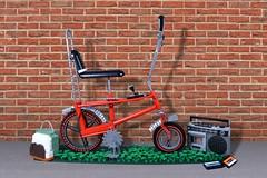 Too Cool For School (Melan-E) Tags: bicycle lego custom moc replica vintage mel melanie chopper mk1 boombox backpack bananaseat