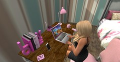 Cant login to SL again (Becks (Rebecca)) Tags: becks sl secondlife avatar avi laptop bedroom book light logout login desk table love phone calculator stapler typing pencils