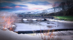 Winter River (jarr1520) Tags: landscape outdoor river sky winter clouds sunset composite textured reflections bridge archedbridge riverbank snow waterfall