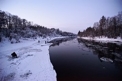 river life (daimak) Tags: lithuania neris river ice twilight winter landscape sonyilce7 fisherman