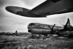 Aircraft Graveyard (Never Exceed Speed) Tags: southbighorncountyairport sagebrush stratofreighter c97 aviation airplane wyoming greybull aircraft blackandwhite