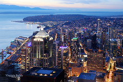 My Beautiful City (Virginia Bailey Photography) Tags: seattle pugetsound pacificnorthwest america dusk bluehouse spaceneedle pacific city downtown lights wa washington columbiatower november fall autumn mountains olympics blue
