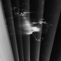 Exposed! (Ron27ald) Tags: leaves ronaldsbanzon night automobile lights blinds reflection window iphone bw