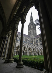 Salisbury Cathedral - Wiltshire - UK (phil_king) Tags: salisbury cathedral spire cloisters arch archway stone architecture medieval building church religious religion wiltshire england uk