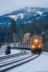 BNSF 8267 West at Sagle, ID (evanlofback) Tags: railroadbnsf spokanesub enginebnsf bnsf8267 gevo h3 grain sagle cloudy winter snow mountains