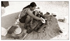 Sate-lunch (yanchep_mike) Tags: nikon f90x polypanf bali blackwhite blackandwhite film beach woman weiss sanur schwarz food sate