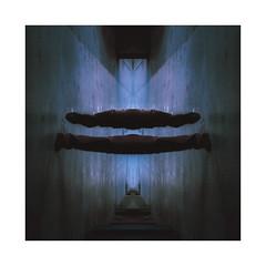 Le verrou au reflet (MEOT Youri) Tags: abstract abstrait symetrie sym cyberpunk street wall rue mur blue froid cold poeple personne