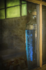 The Blue Vase (Amanda J Richards) Tags: vase window pane blue old light glass