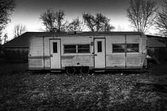 A Home Away From Home. Comber, ON. (Paul Thibodeau) Tags: photooftheday comber fujifilmx100f streetphotography blackandwhite monochrome trailer
