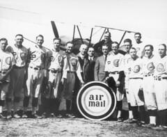 air mail image (San Diego Air & Space Museum Archives) Tags: baseballteam baseballplayers usairmail airmail usmail aviation aircraft airplane biplane baseball
