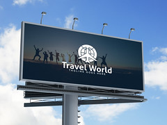 Travel World Logo Design (sharifulshohel) Tags: 3d ad advert advertisement advertising background banner big bill billboard blank blue board business canvas city clear cloud commercial communication curb customizable display empty image information large marketing media message outdoor outside panel poster promo promotion publicity selling sign signpost sky space street structure text traffic urban white