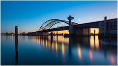 Van Brienenoordbrug Rotterdam (Rob Schop) Tags: vanbrienenoordbrug sonya6000 samyang12mmf20 f11 longexposure nd64 hoyaprofilters le lrcc pscc bluehour sunset demaas bridge river zuidholland merge