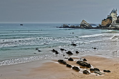 La nage des rochers (Le.Patou) Tags: france biarritz aquitaine basque paysbasque plage rocher villa bleu blue color colorful colored fz1000 beach sea surf rock panorama stormy storm dark