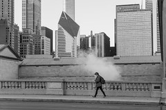 Golden Age ({Brinkervelt}) Tags: chicago bw blackandwhite blackwhite monochrome city urban cityscape person street bridge downtown architecture buildings walking