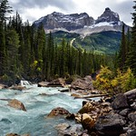 Looking Downstream with the Yoho River with Cathedral Crags and Other Peaks of the Bow Range (Yoho National Park) thumbnail