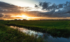 A Colorful World (bramtop_1990) Tags: dusk color colour colorful world zaltbommel scenery landscape nederland netherlands dutch sundown kleur ditch water stream sloot sun sunshine star clouds grass green gras trees plants nikon d610 nikkor 20mm f18