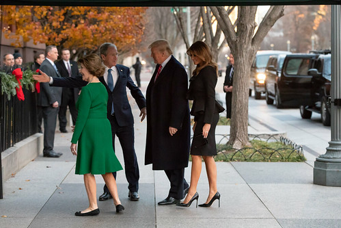 President Donald J. Trump and First Lady Melania Trump with former President George W. Bush and former First Lady Laura Bush.  Just think.  Someone worse actually came along.