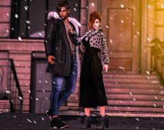 You & Me (elocuenciaresident) Tags: him hair vango alexombre jacket sweater plastix snowtop coat c88 jeans kalback original m4dark blue sneakers vale koer nomad black her tableau vivant hope dress pixicat evadress katat0nik cropped fur boots ingenue caris booties skin glam affair kiki applier genus rings yummy snow angel ring set background minimal soho building